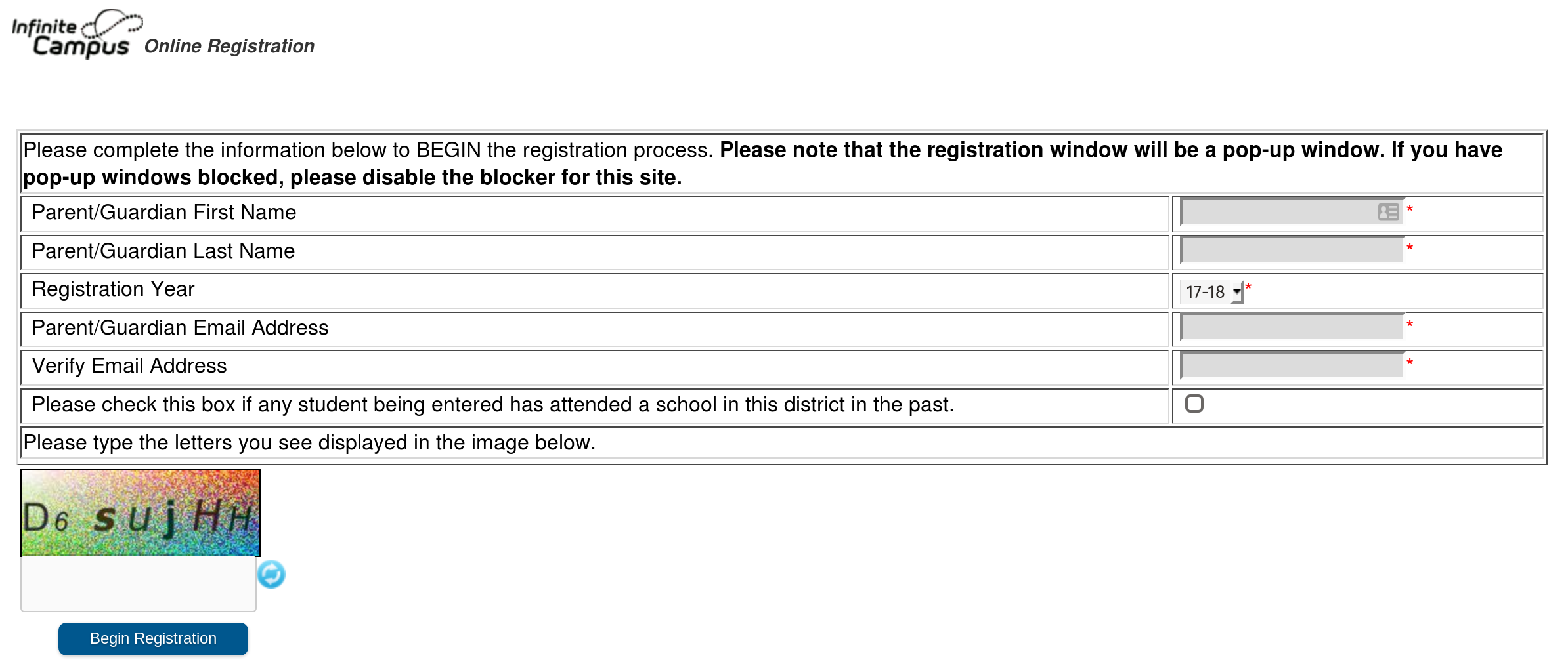 Registration Window
