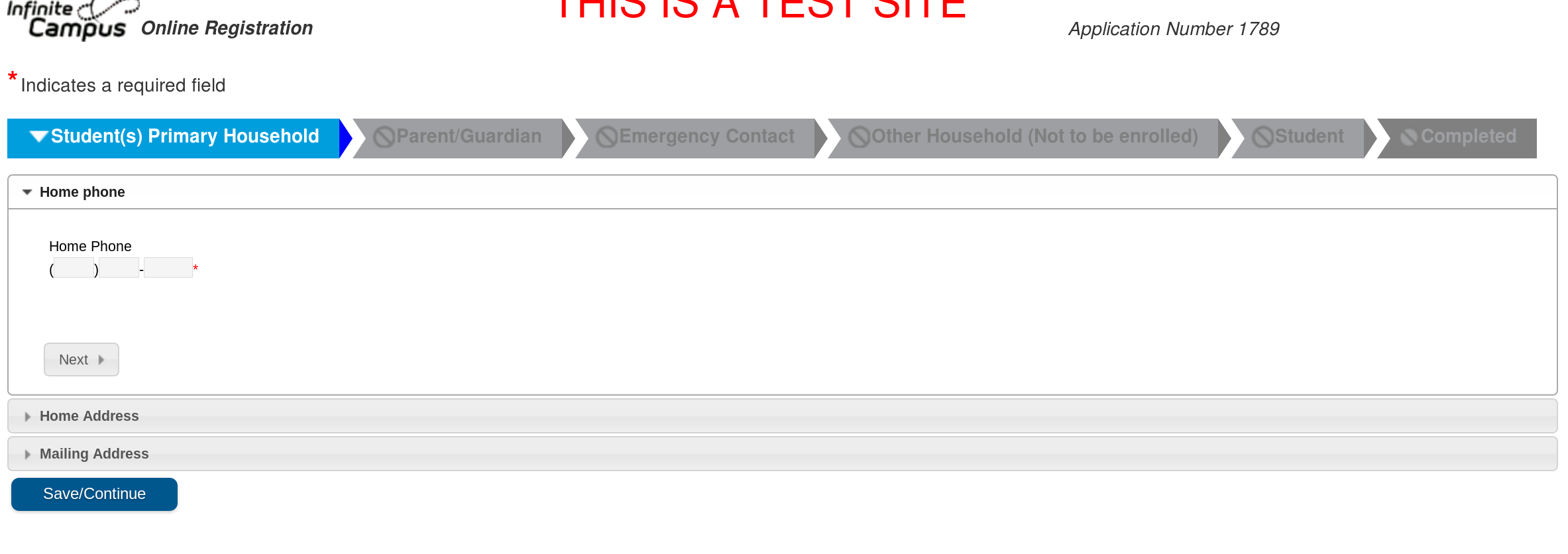 Main Online Registration Window