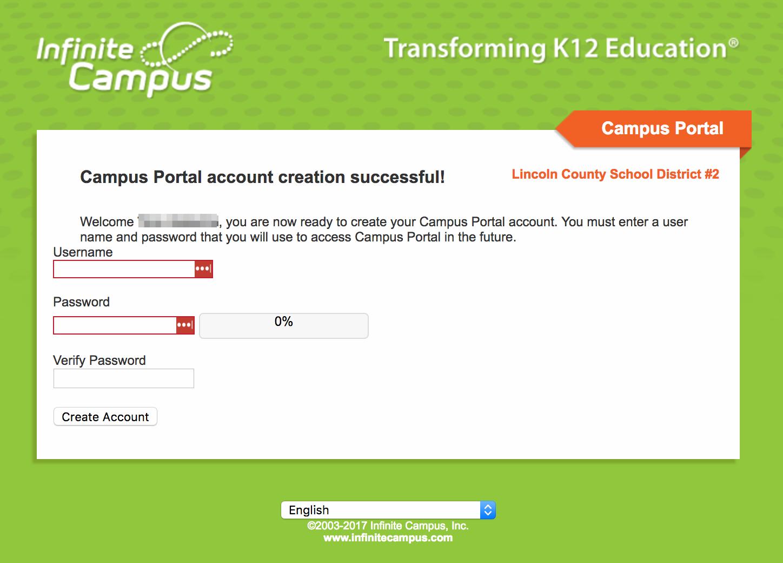 username password creation
